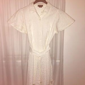 chritian Siriano for Lane Bryant Dresses - White belted shirt dress Christian Siriano for LB